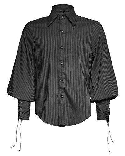 Punk Rave -  Camicia Casual  - Uomo nero XL