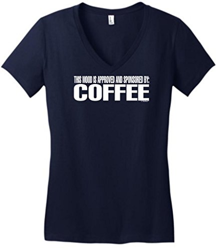 This Mood Is Approved And Sponsored By Coffee Juniors V-Neck Medium New Navy