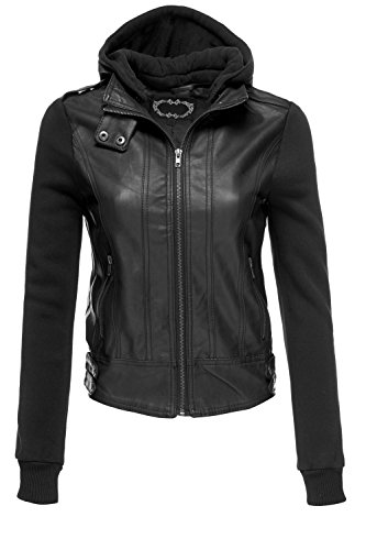 Faux Leather Fleece Sleeve Moto Jacket with Hoodie