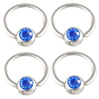 "captive belly button rings conch piercing jewelry 16g earrings bead (1.2mm), 3/8"" Inch (10mm) long - Sapphire Swarovski Crystal 316L Surgical Stainless Steel eyebrow lip bars ear tragus ball closure bcr ALEE - Pierced Body - Set of 4 from bodyjewellery"