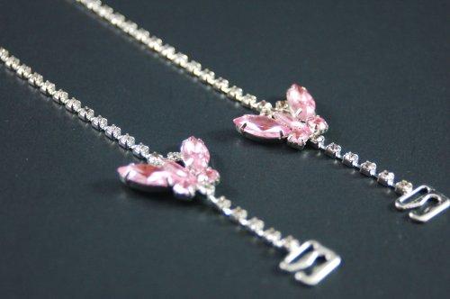 Exotic Party Wear Fashion Rhinestone Adjustable Bra Pink Butterfly Design Brastrap