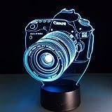 Digital Single-lens Reflex Camera 3D LED Lights Colorful Touch Night Light Christmas Gift