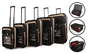 Black Beige Cities 5 Piece 2 Wheeled Suitcases Lightweight Nylon Set Cabin Bag Set