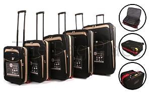 Black Beige Cities 5 Piece 2 Wheeled Suitcases Lightweight Nylon Set Cabin Bag Set