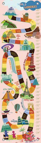 Oopsy Daisy Growth Charts World Wonders Pink by Jenny Kostecki Shaw, 12 by 42-Inch