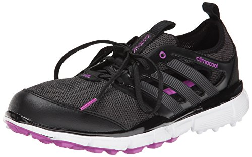 adidas Women's W Climacool II Golf Shoe, Core Black/Iron Metallic/Flash Pink, 7.5 M US