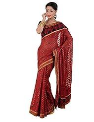 B3Fashion Maroonish Red Khari Silk Saree With Zari Weave And Embroidered Border & Co-ordinating Fabric And Zari...