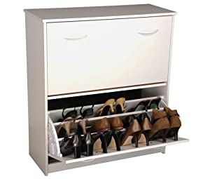 Venture Horizon Home Outdoor Entryway Stackable Double Wooden Shoe Storage Chest Cabinet White