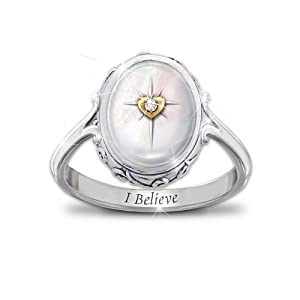 Diamond And Mother Of Pearl Ring: I Believe by The Bradford Exchange