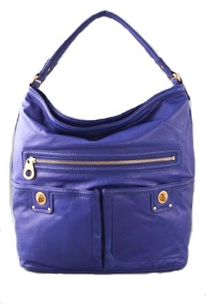 Marc by Marc Jacobs Faridah Leather Hobo Shoulder Bag Blue Violet