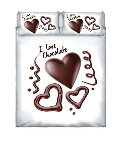 Italian Bed Linen  Parure Copripiumino Cuori Cioccolato