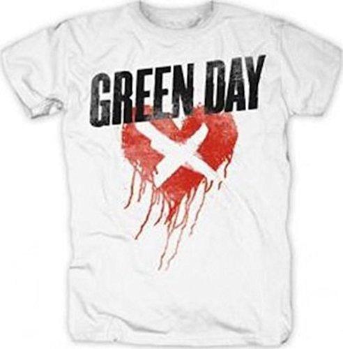 GREEN DAY-CROSS MY HEART-MAGLIETTA UFFICIALE DA UOMO bianco