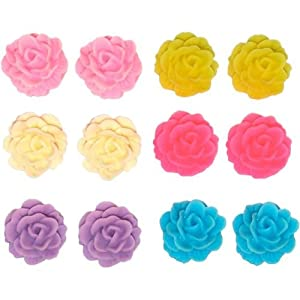 "Set Of 6 Pairs 1/2"" Clay Flower Studs In Assorted with Matte Finish"