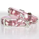 """""""The Wild Thing"""" 122 Swarovski crystals jewelled Python Print Leather Dog Collar - Pink / Small (8""""-12"""")"""