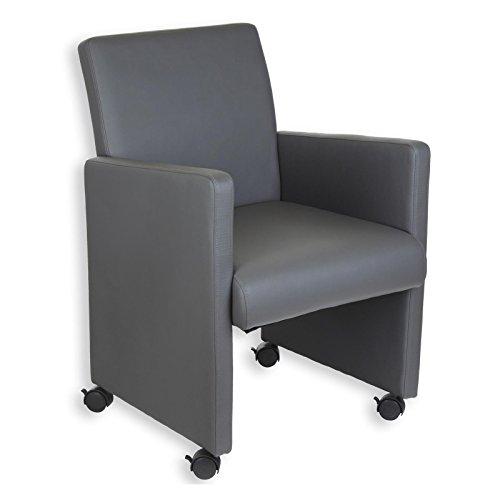 Sessel-Hocker-Relaxsessel-Polstersessel-ANTONIA-auf-Rollen-grau