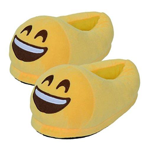 Babuchas-Sonriente-con-ojos-cerrados--Grande--Zapatillas-pantuflas-Emoji-Emoticon-Cmodo-Suela-Trmica-