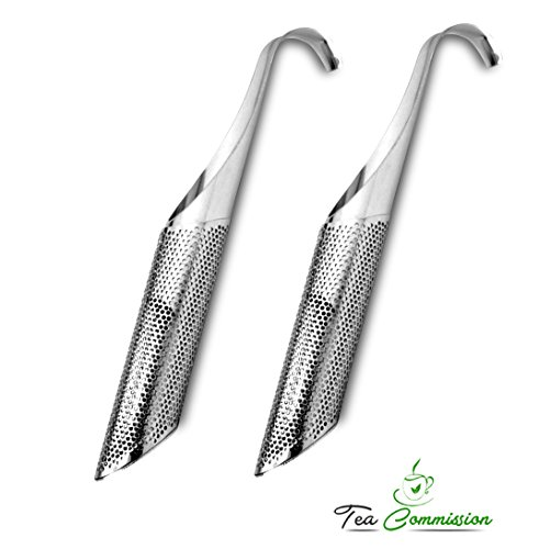 Find Discount Tea Commission Tea Infuser Steeper Strainer Stick Pipe -2 pack, Premium Extra Fine Mes...