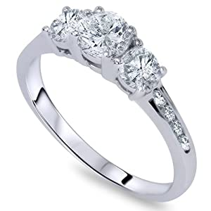 1 3/4ct Three Stone Round Diamond Engagement Ring 14K White Gold