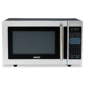 Sanyo - Countertop Microwave Oven, 1.0 Cubic Foot, 1,000 Watt, Stainless Steel/Black