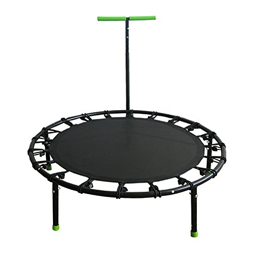 ALEKO BTERH40BK Fitness Cardio Trampoline with Stabilizing Handlebars Aerobic Home Workout Mini Trampoline, Black