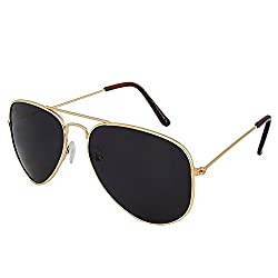 Silver Kartz Gold Retro Aviator Sunglasses (AV030)