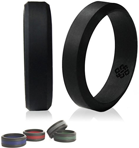 Silicone Wedding Ring by Knot Theory (Black, Size 8.5-9) ★6mm Band for Superior Comfort, Style, and Safety