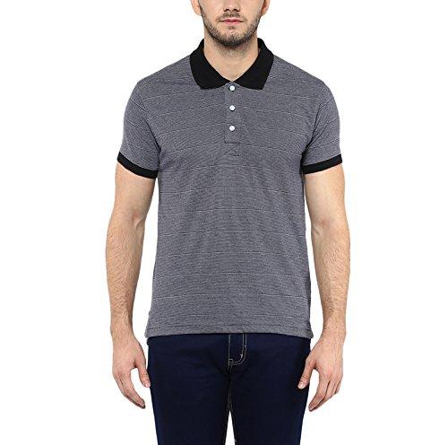 American-Crew-Mens-Polo-Stipres-T-Shirt-Black-White