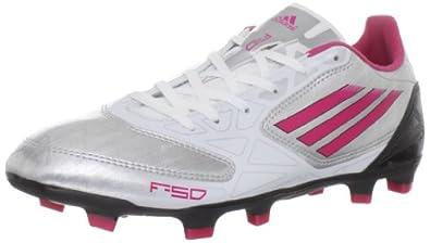 adidas Women's F10 TRX FG Soccer Shoe,Metallic Silver/Bright Pink/Black,5 M US