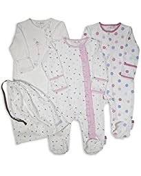The Essential One Baby Girls\' 3 Pack Balloon Footie Sleeper Coveralls 6 - 9 Months Pink