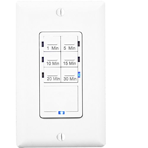 Enerlites HET06A Countdown In-Wall Timer Switch for Vent Fan & Light 1,5,10,15,20,30 Min, LED Night Light, NEUTRAL REQUIRED, White (Timer Outlet Switch compare prices)