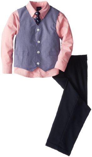 Nautica Little Boys' Chambray Stripe Vest Set, Medium Blue, 7 front-1027657