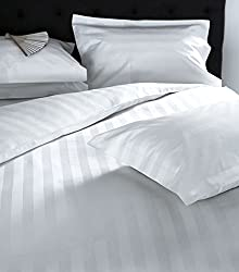 Linenwalas 300 TC Premium 100% Cotton Stripes Bedsheet with 2 Pillow Covers-100