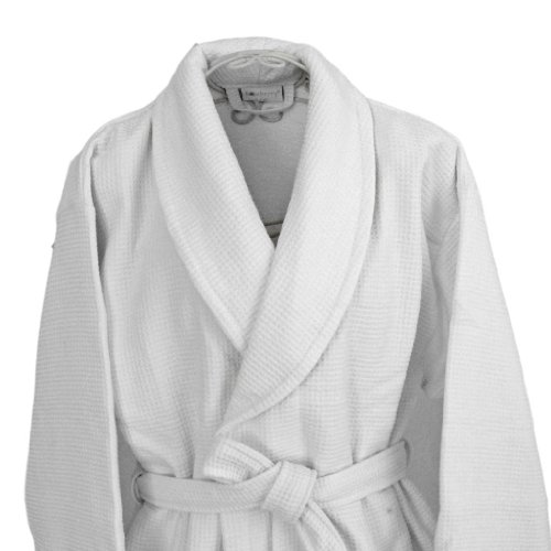 Homescsapes S/M Men's and Women's Waffle Terry Towelling Bathrobe with Shawl Collar White - 100% Cotton Dressing Gown