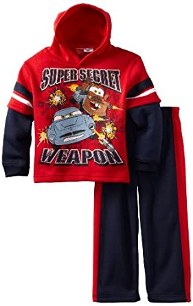 Disney Boys 2-7 Cars Spy Weapon 2 Piece Hoodie Set, Red, 6