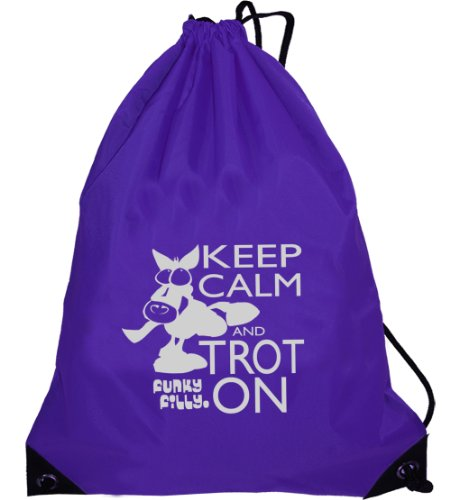 Funky Filly Pony Girls Silver Horse Keep Calm and Trot On Drawstring Bag Size 45 x 34 cms