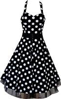 Pretty Kitty Fashion 50s Large Polka Dot Black Rockabilly Swing Prom Pin Up Dress UP TO SIZE 26