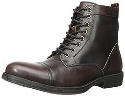 Steve Madden Men\'s Dino Combat Boot, Brown/Multi, 10.5 M US