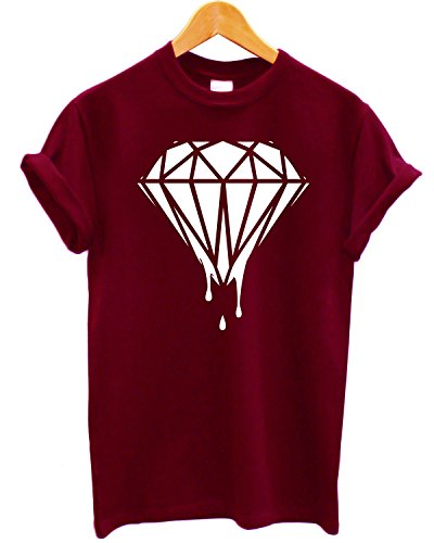 "T-shirt Uomo ""Dripping Diamond"" - Maglietta cool 100% cotone LaMAGLIERIA,XL, Burgundy"