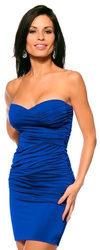 Sexy Fitted Strapless Ruched Evening Club Party Womens Mini Dress, Small, Royal Blue