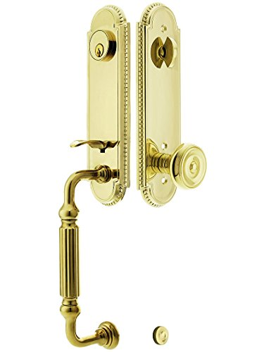"""Orleans Style Tubular Handleset In Pvd With Waverly Knobs And 2 3/8"""" Backset. Old Door Handles. front-782900"""