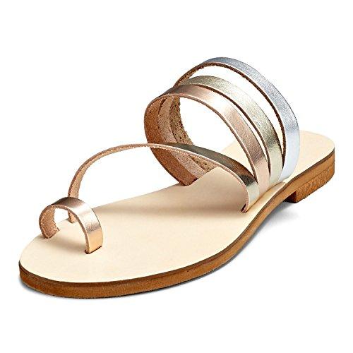SCHMICK Sandali 'Eos' Donna Sandali alla schiava Scarpe estive in vera pelle look metallico, Schuhgr÷?e:38 EU;Farbe:gold rose-gold silver