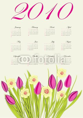 """Wallmonkeys Peel and Stick Wall Decals - Calendar for 2010 in English - 48""""H x 34""""W Removable Graphic"""