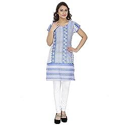 Savrish White Blue Colour Cotton Kurti Xtra Xtra Large