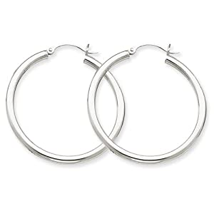 14K White Gold 2.5mm Lightweight Round Hoop Earrings