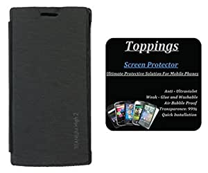 Toppings Flip Cover With Screen Guard For Karbonn Titanium High 2 - Black