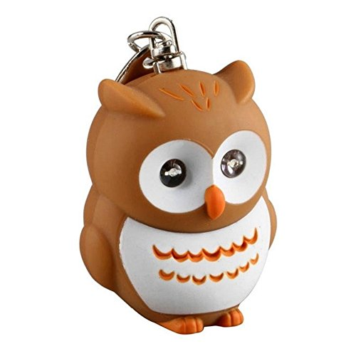 Small Cute Various Animals Keychain with Sound and Light LED Flashlight Keychains Keyrings Accessories, One Size Made of Plastic & Metal (Owl Brown)