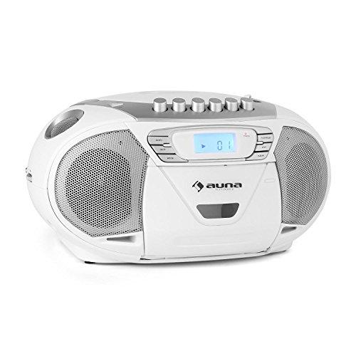 Auna KrissKross Registratore Radio Portatile (Usb, Mp3, Lettore Cd Top-Loading, Lettore Cassette, Radio FM, Funzionamento Corrente o Batterie) Bianco