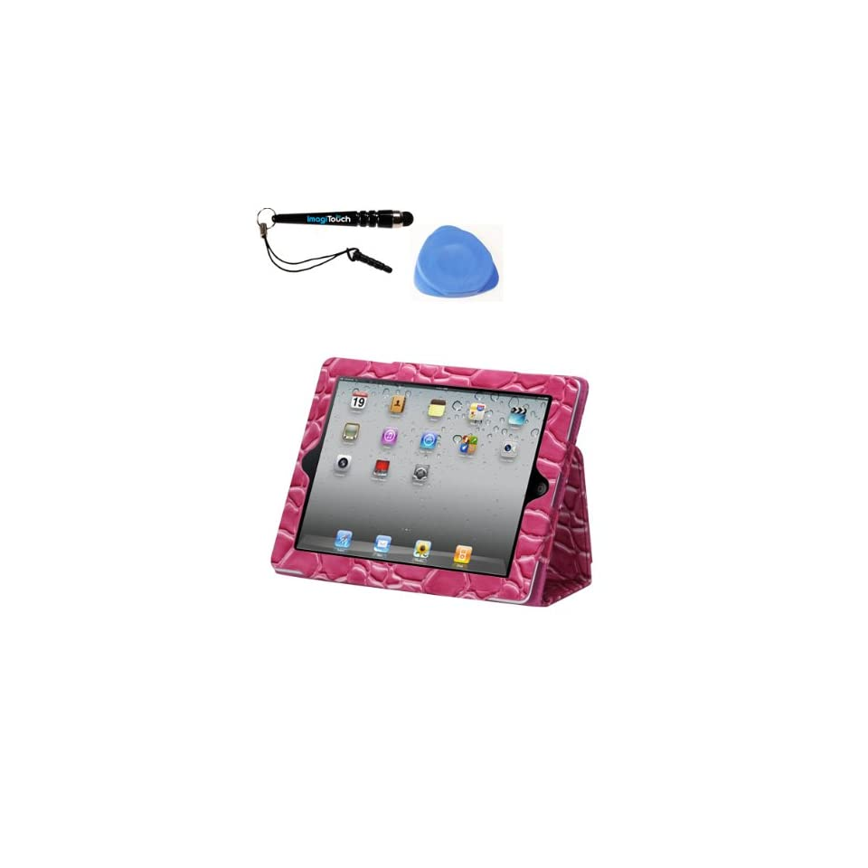 IMAGITOUCH(TM) 3 Item Combo APPLE iPad 4 (with Retina display) Pink Stone Texture MyJacket(with card slot) (611) (Stylus pen, Pry Tool, Phone Cover) Cell Phones & Accessories