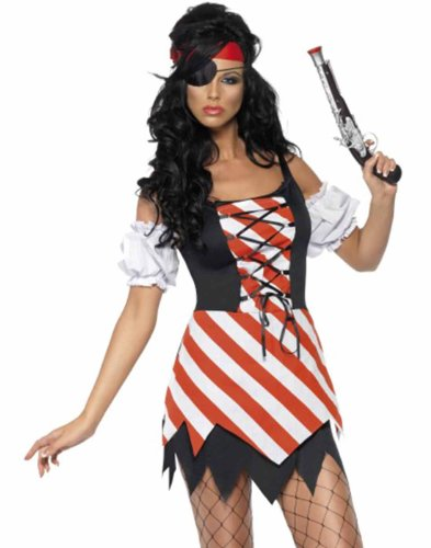 Sassy Pirate Of The Sea Siren Wench Womens Halloween Costume With Eye Patch