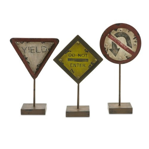 """Set Of 3 Distressed Street Sign Table Top Decorations 15.75"""" front-437646"""